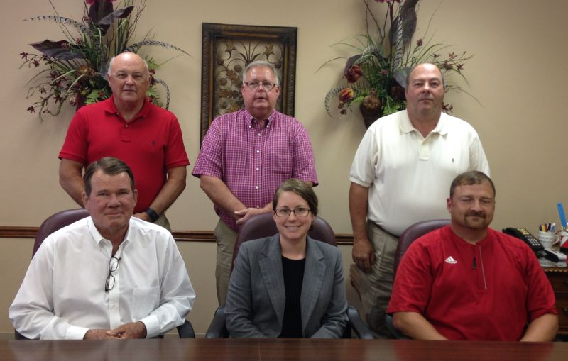 Central Water board of directors. Seated, Steve Barnett, Jenifer Branning, attorney, and Zachary Sanders; standing, Robert Smith, Brent Gray and Steve Breland.